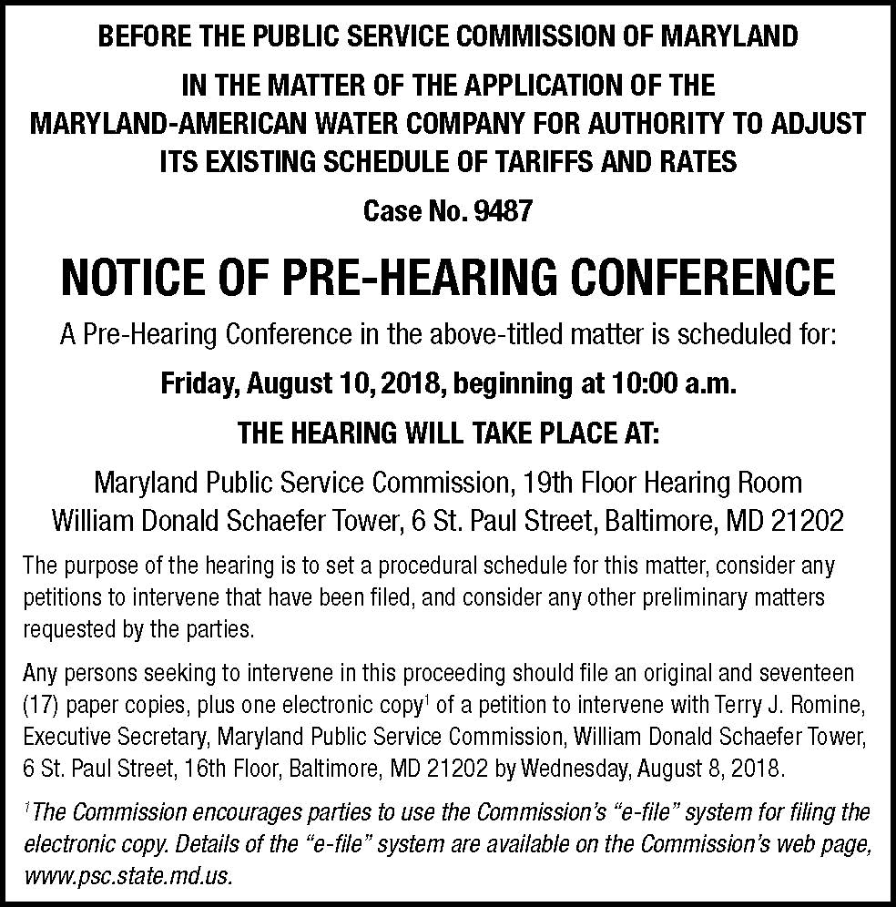 Pre-hearing conference ad